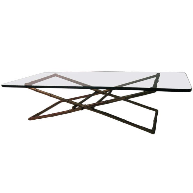 Modernist Faux Bamboo Gilt Iron Cocktail Coffee Table For Sale At 1stdibs