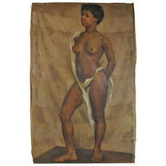 Nude Standing, Oil On Canvas By American Artist Jane White