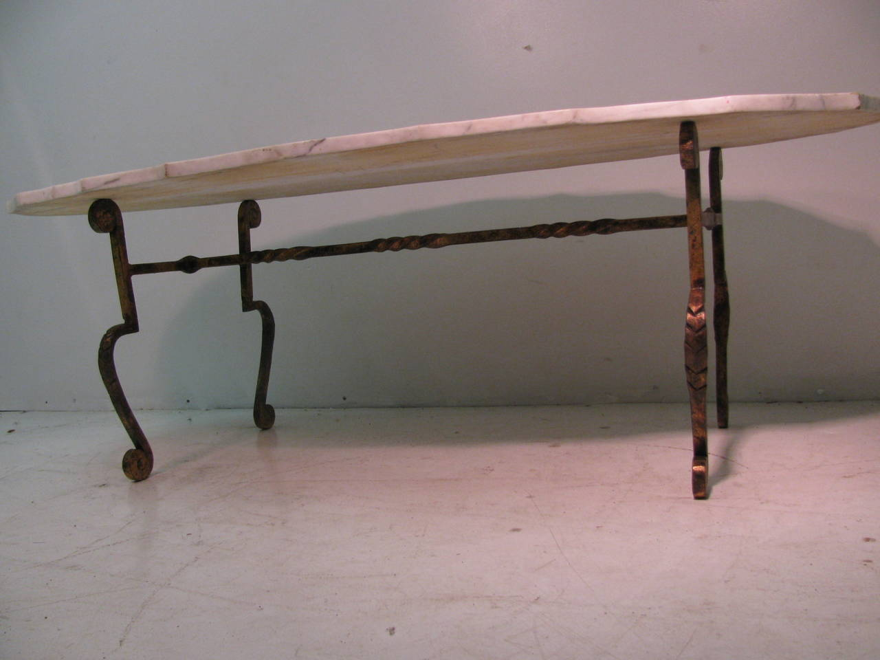 French Gilt Iron With Scalloped Carrara Marble Cocktail Table For Sale At 1stdibs