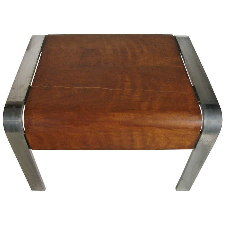 Rare Mid Century Extruded Aluminum Table With Bent Wood 1