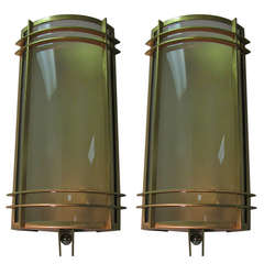 Pair of Large French Brass Art Deco Curved Glass Sconces