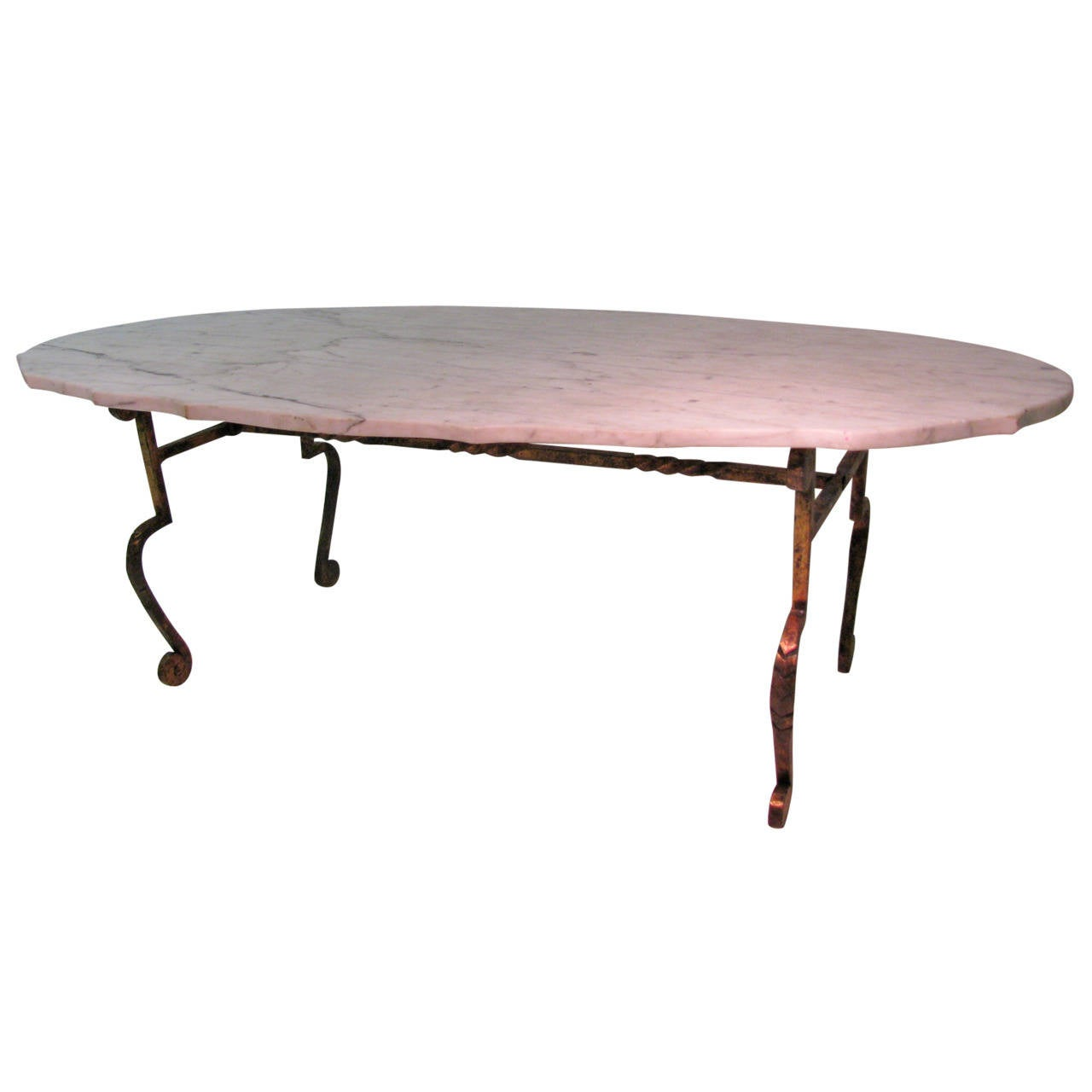 Iron With Scalloped Carrara Marble Cocktail Table For Sale At 1stdibs