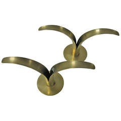 Pair of Polished Ystad Metal Brass Candleholders