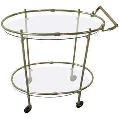Mid Century Italian Brass Elliptical Bar Cart