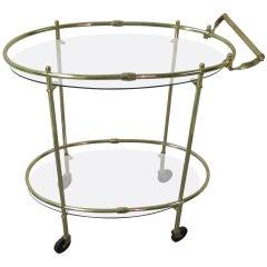 Mid Century Italian Brass Elliptical Bar Cart