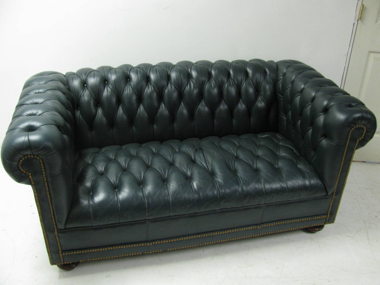 Fine Classic Green Leather Two Seat Chesterfield Sofa At 1Stdibs Onthecornerstone Fun Painted Chair Ideas Images Onthecornerstoneorg