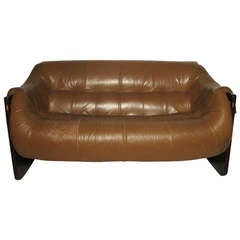 Mid Century Modern Leather With Rosewood Two Seat Sofa By Percival Lafer