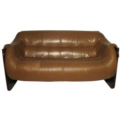 Mid-Century Modern Leather With Rosewood Two-Seat Sofa by Percival Lafer