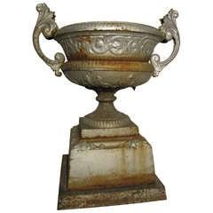 Large 19th c. Cast Iron Garden Urn