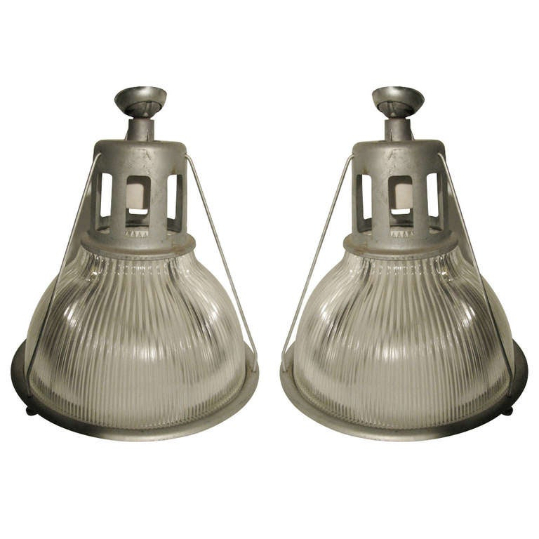 Pair Holophane Industrial Pendant Lamps