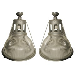 Pair of Original Holophane Industrial Pendant Lamps Circa 1940