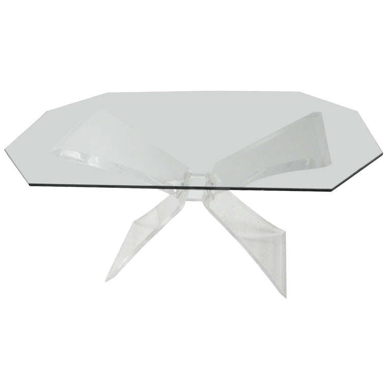 Lucite Butterfly Dining Table Attributed to Lion in Frost