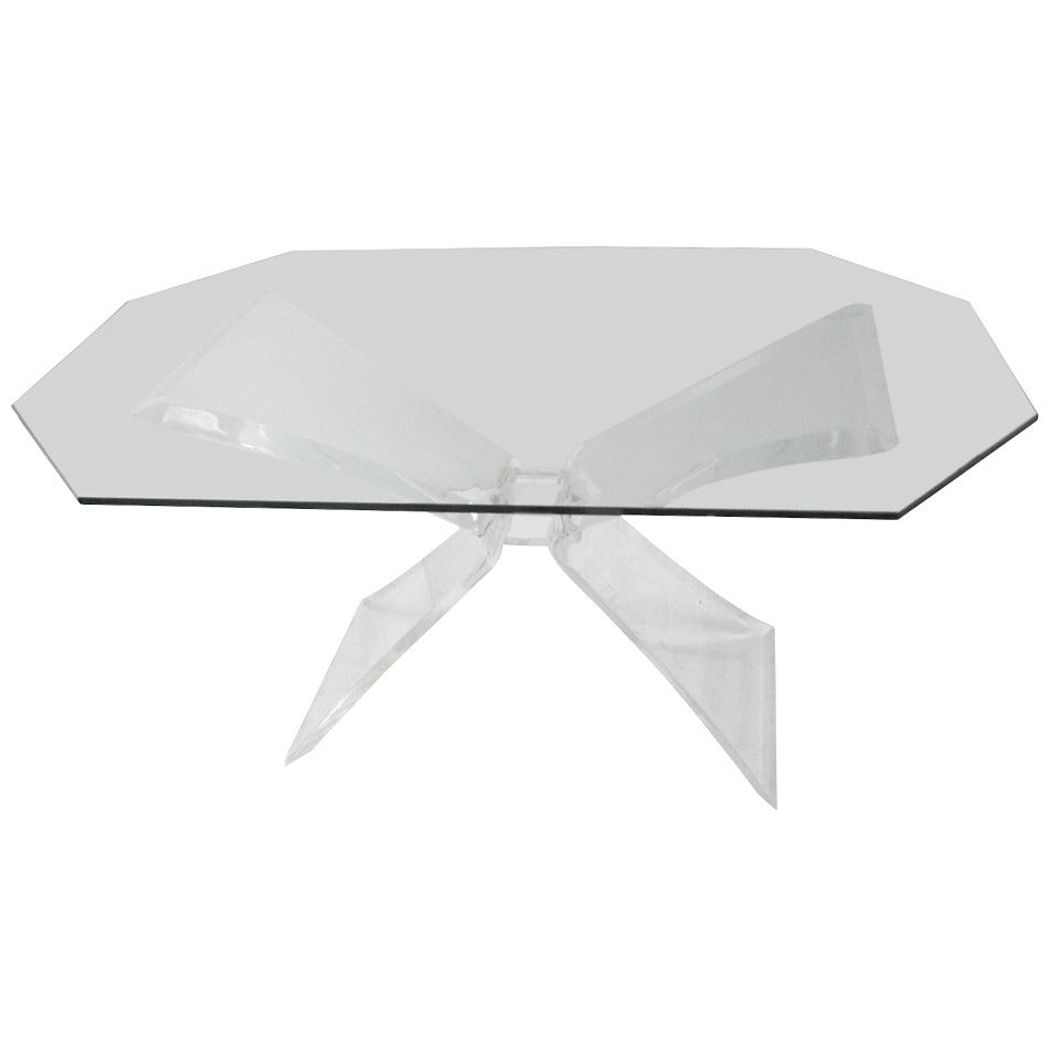 Mid-Century Modern Lucite Butterfly Dining Table Attributed to Lion in Frost