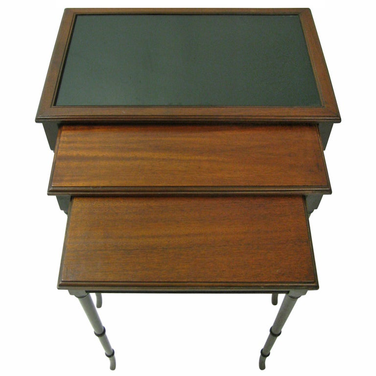 Mid Century Mahogany French C1948 Faux Bamboo Nesting Tables For Sale