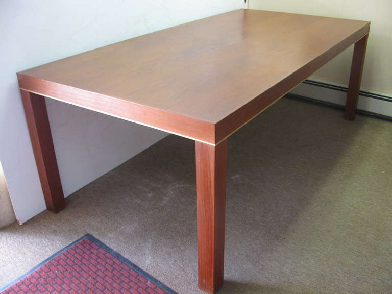 Mid-Century Modern Mid Century Modern Teak Parsons Style Dining Room or Conference Table For Sale