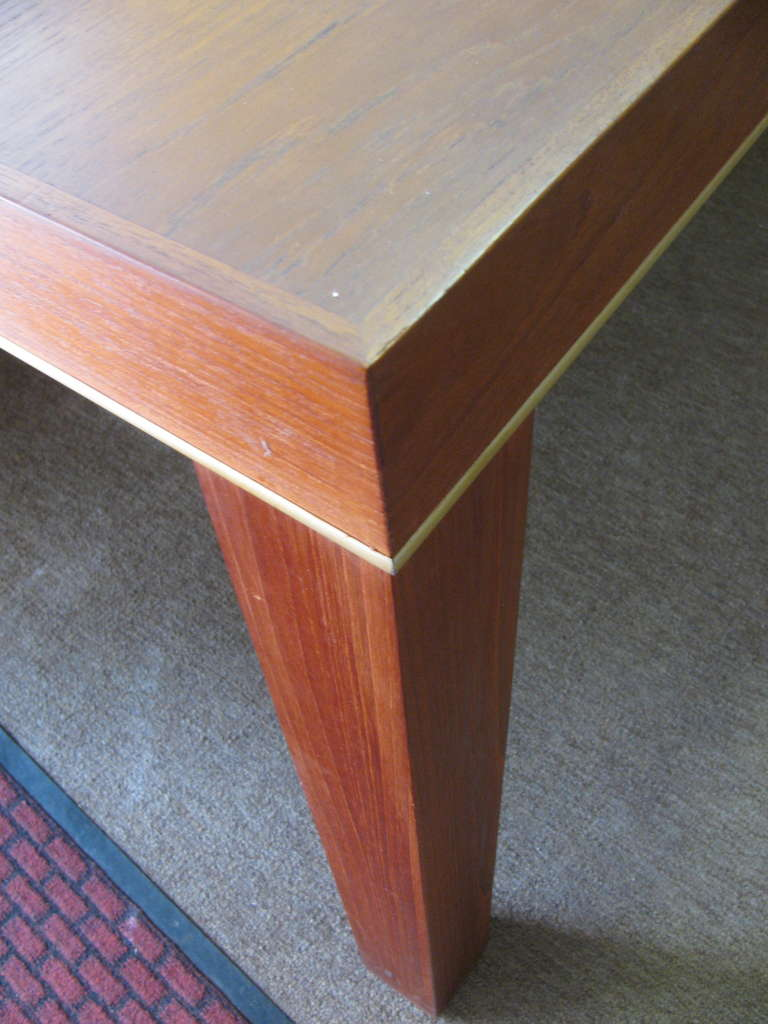 American Mid Century Modern Teak Parsons Style Dining Room or Conference Table For Sale