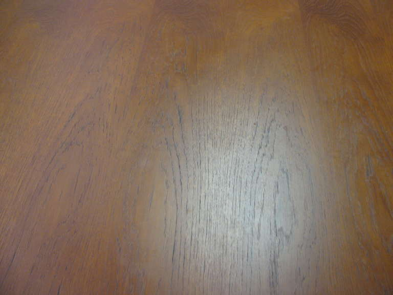 Brass Mid Century Modern Teak Parsons Style Dining Room or Conference Table For Sale