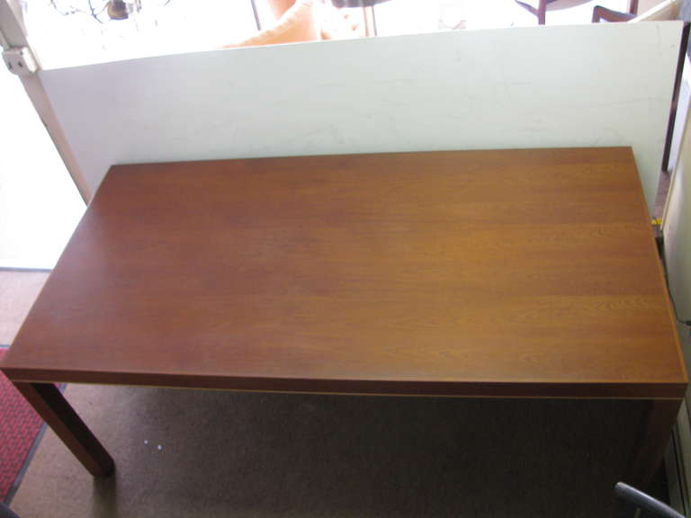 Mid Century Modern Teak Parsons Style Dining Room or Conference Table For Sale 1
