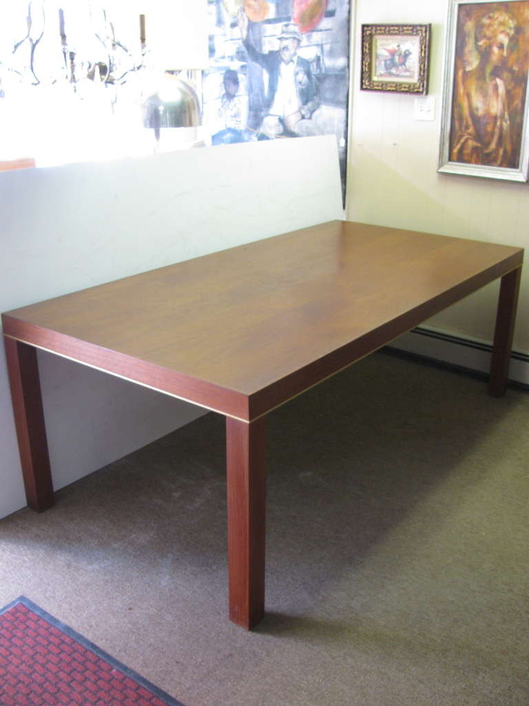 Mid Century Modern Teak Parsons Style Dining Room or Conference Table For Sale 2