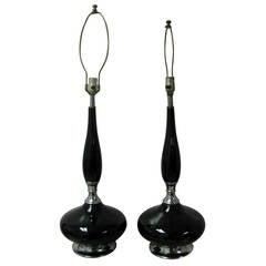 Pair of Mid-Century Modern Black Porcelain Table Lamps Gerald Thurston