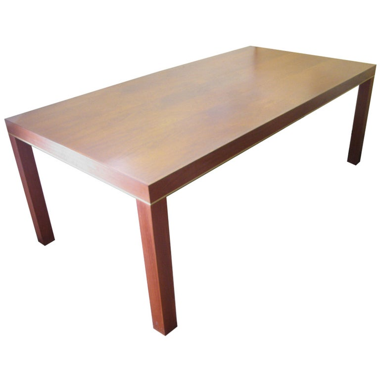 Mid Century Modern Teak Parsons Style Dining Room or Conference Table For Sale