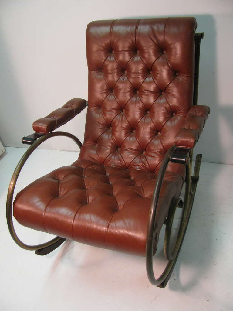 Mid Century Leather And Brass Rocker By Lee Woodard At 1stdibs