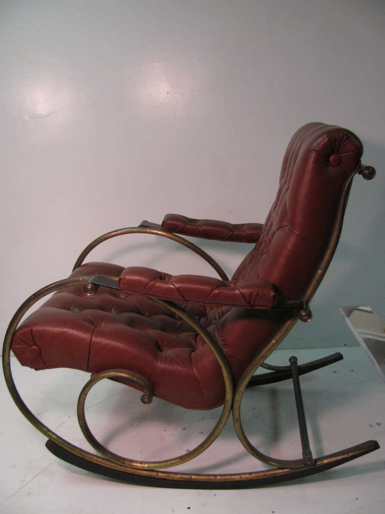 And wood rocking chair by woodard leather brass and wood rocker by - Mid Century Leather And Brass Rocker By Lee Woodard At 1stdibs