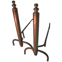 Mid Century Modernist Machined Brass Fireplace Andirons