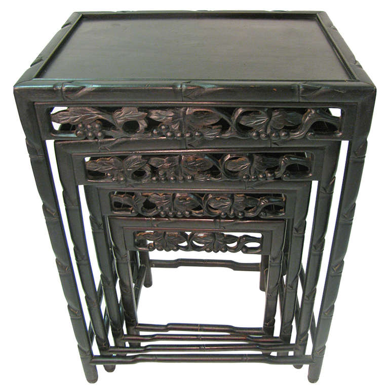 Ebonized Rosewood, Chinese Set of Four Nesting Tables