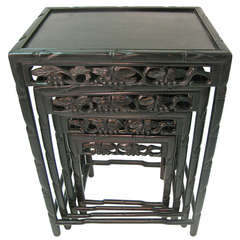 Ebonized Rosewood Chinese Set Of Four Nesting Tables