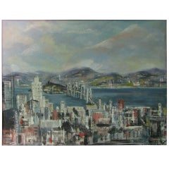 "Midcentury San Francisco Oil on Canvas, ""City by the Bay"""