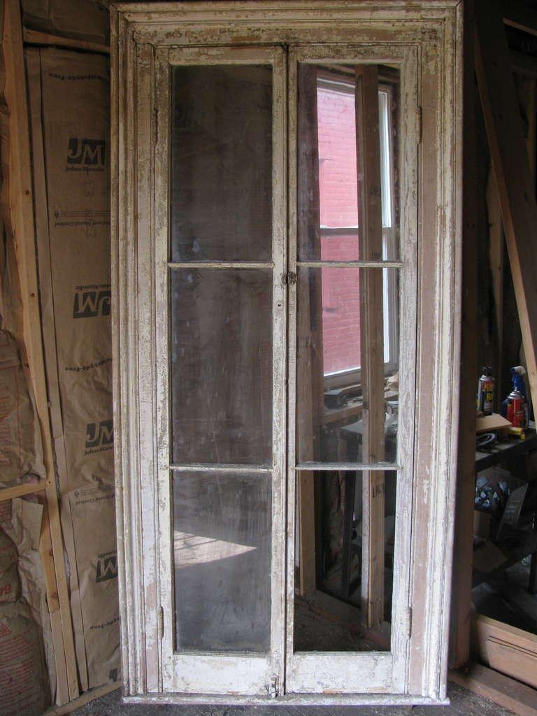 Pair Georgian 19th Century Floor To Ceiling Door Windows