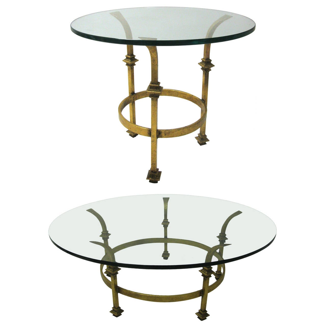 Mid century gilt french iron cocktail table with matching side table for sale at 1stdibs Matching coffee table and end tables