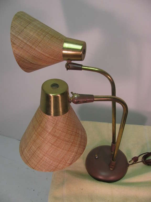 Brass Mid-Century Modern Table or Desk Lamp by Prescolite For Sale