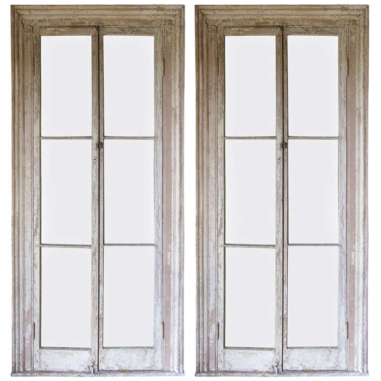 Pair Georgian 19th Century Floor To Ceiling Door Windows