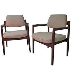 Pair of Danish Mid-Century Modern Armchairs Attributed to Jens Risom
