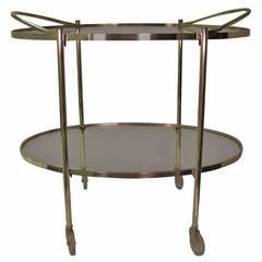 Mid-Century Modern Oval Brass Bar Cart