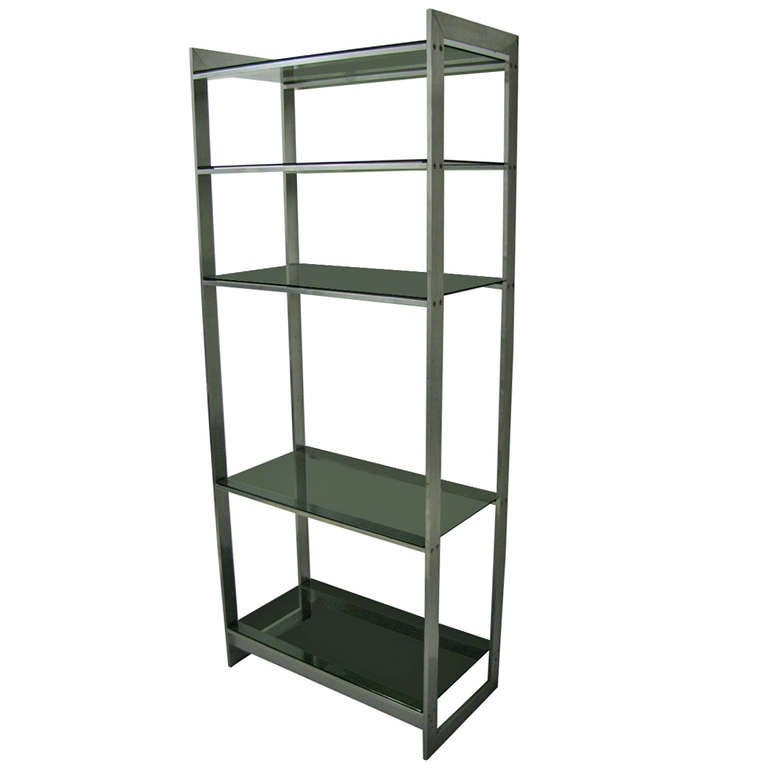 mid century modern aluminum and glass etagere style of paul mayen at 1stdibs. Black Bedroom Furniture Sets. Home Design Ideas