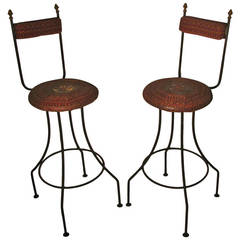 Pair of Sculptural French Bar Stools
