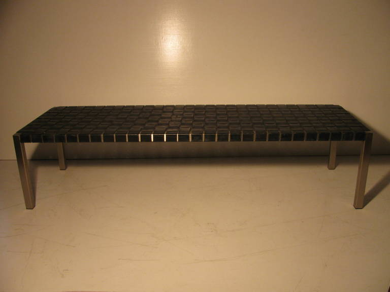 Ralph lauren woven leather bench or cocktail table at 1stdibs for Cocktail table with 4 benches