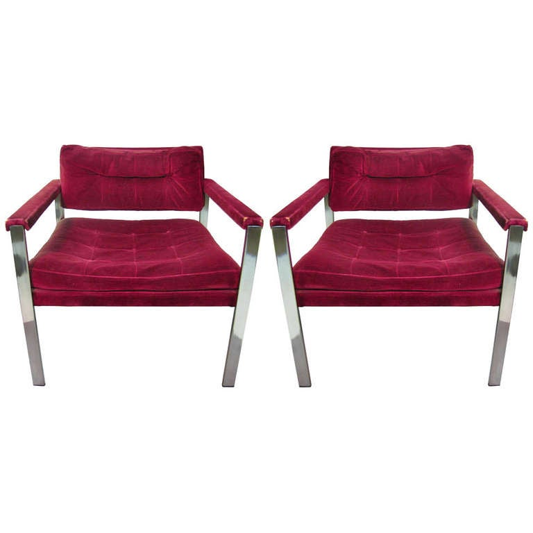 Pair of Midcentury Lounge Chairs by Harvey Probber For Sale
