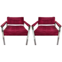 Pair of Mid Century Modern Lounge Chairs by Harvey Probber