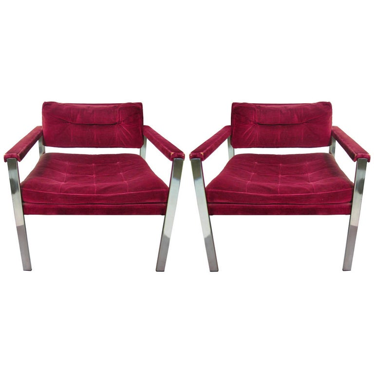 Pair of Mid Century Modern Lounge Chairs by Harvey Probber For Sale