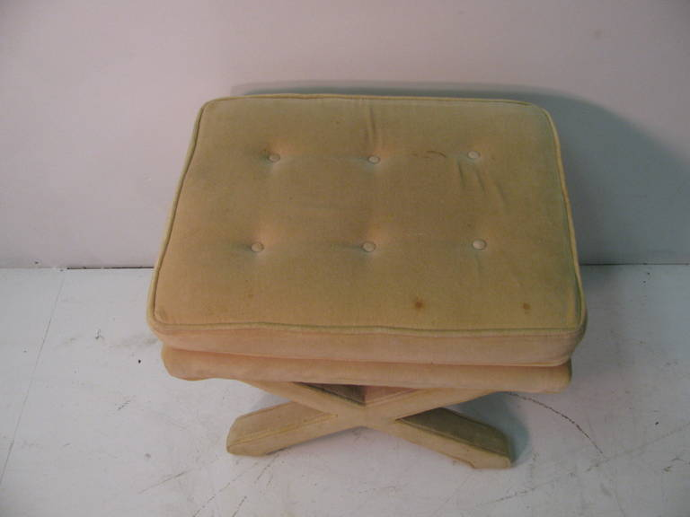 Upholstered ottoman from the early 1970s. X stretcher design. Have 3 that are slightly different. However, once reupholstered they will match.