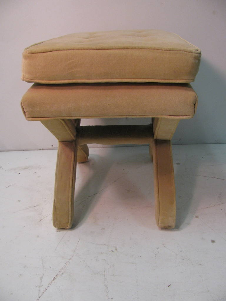 American Mid-Century Modern Upholstered X-Stretcher Ottoman For Sale