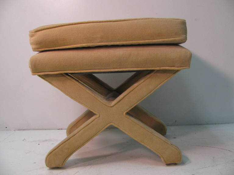 Late 20th Century Mid-Century Modern Upholstered X-Stretcher Ottoman For Sale