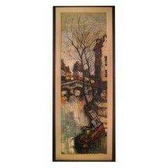 Circa 1948 Modernist Oil on Canvas by Austrian Artist M. Edward Griff