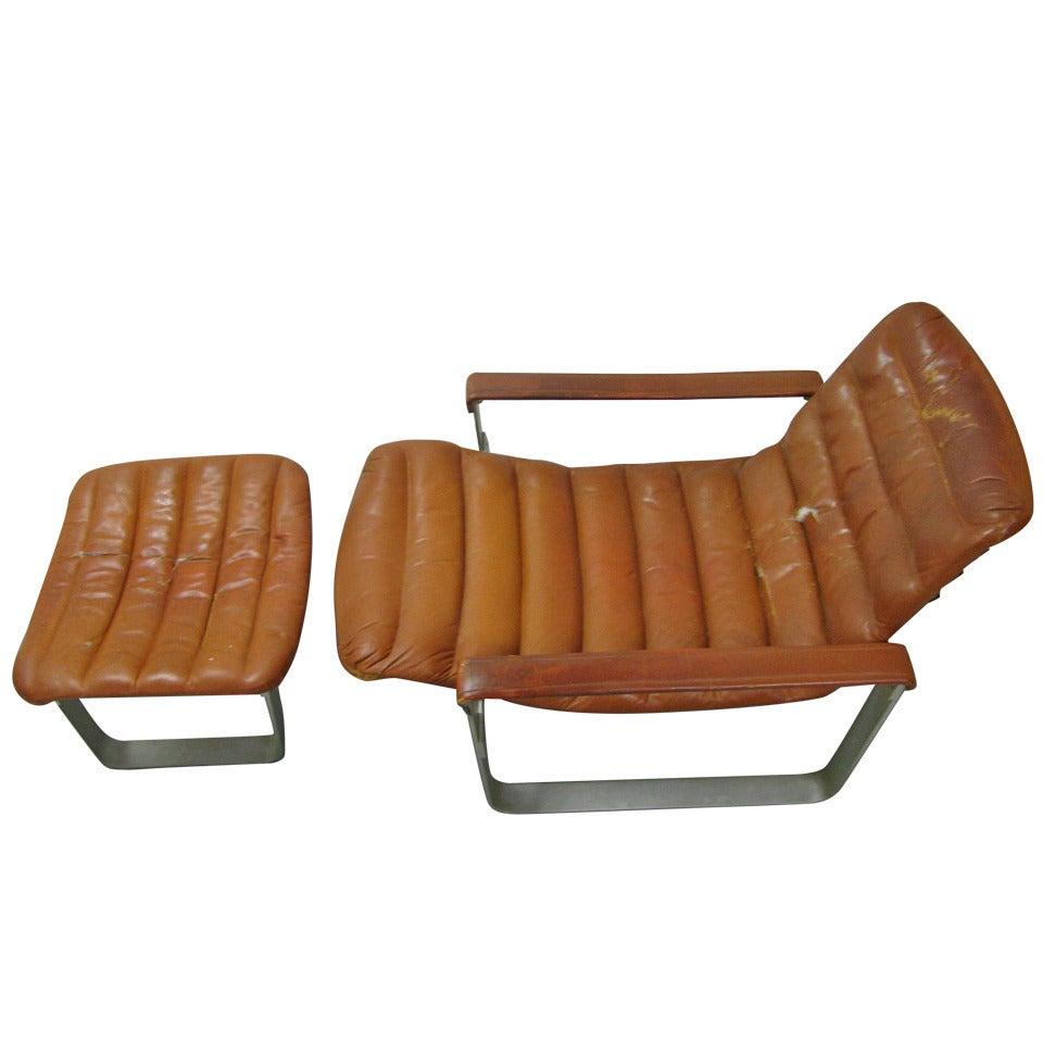 Mid Century Modern Ilmari Tapiovaara Lounge Chair with Ottoman