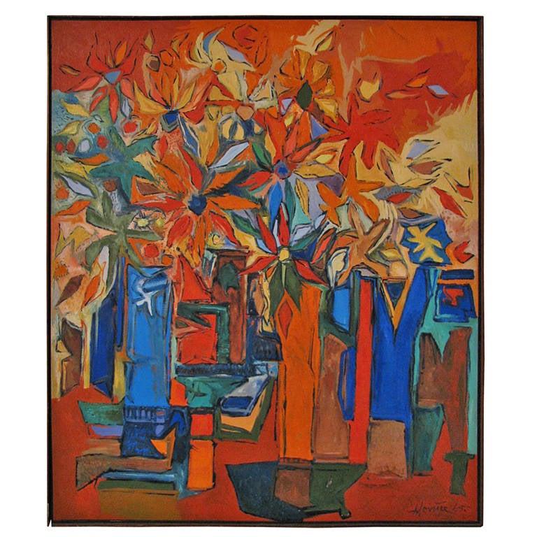 New York Artist Alan Levine Mid-Century Oil on Canvas