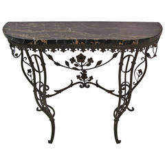 Elegant French Iron and Portoro Mable Console Table